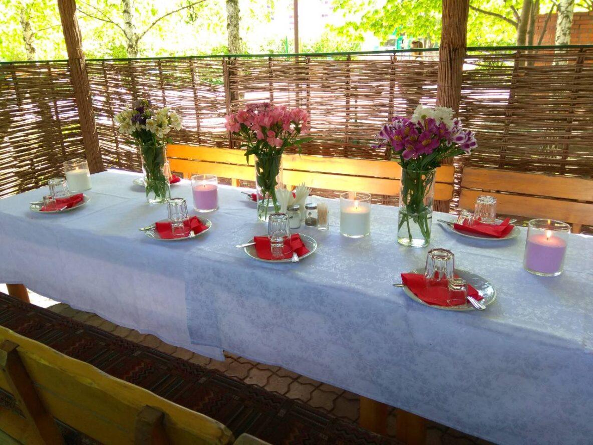 """Оформление праздника насыпными свечами в ресторане """"Хуторок на Березановке"""""""