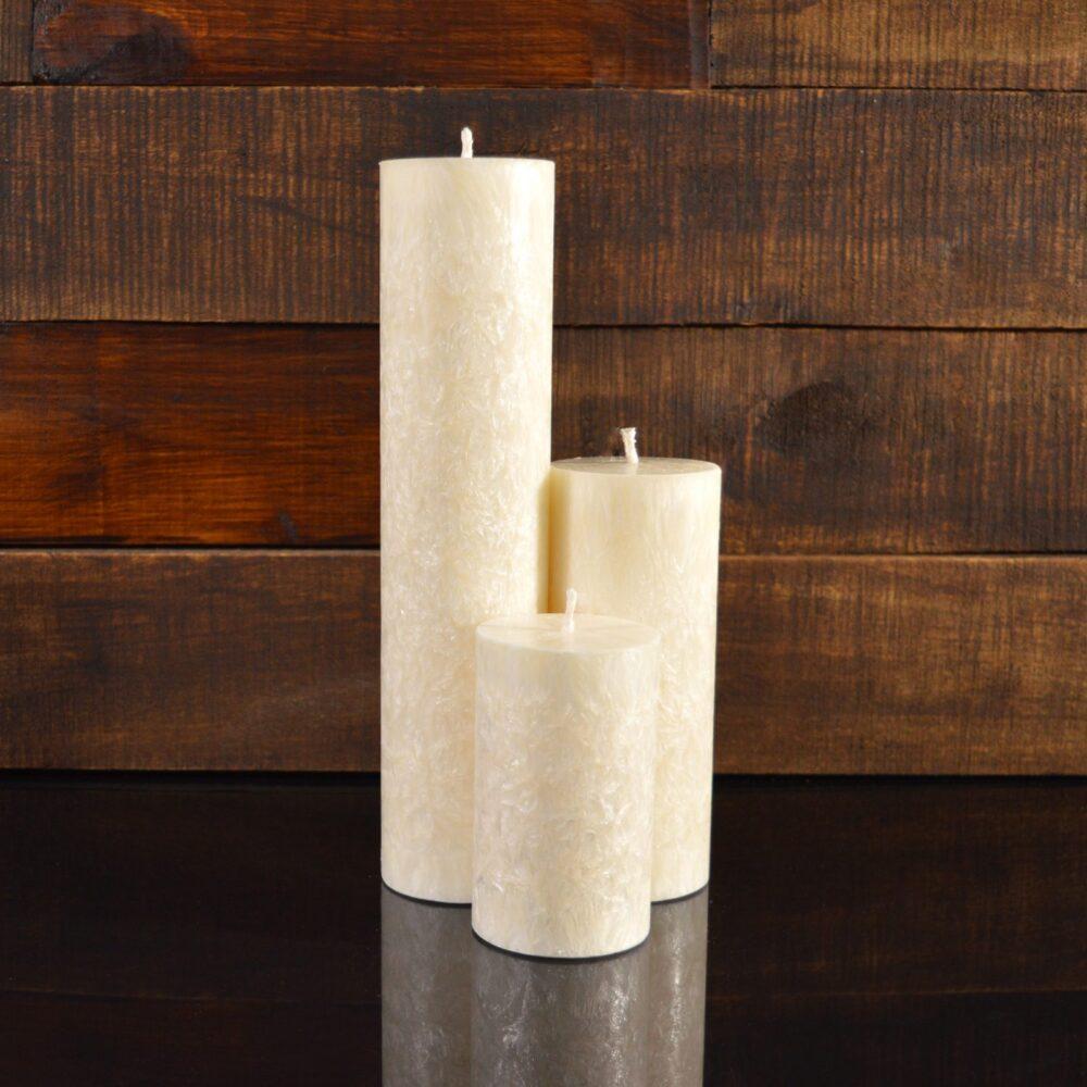 Белые свечи из пальмового воска (комплект из 3-х свечей)
