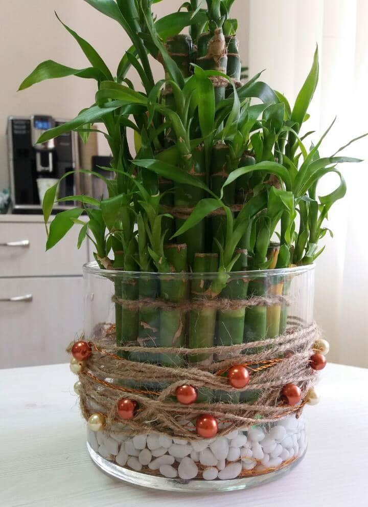 Ваза, колба 10/12 см с бамбуком