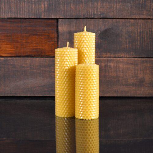 Желтые свечи из пчелиного воска (комплект из 3-х свечей)
