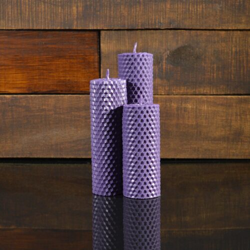 Фиолетовые свечи из пчелиного воска (комплект из 3-х свечей)