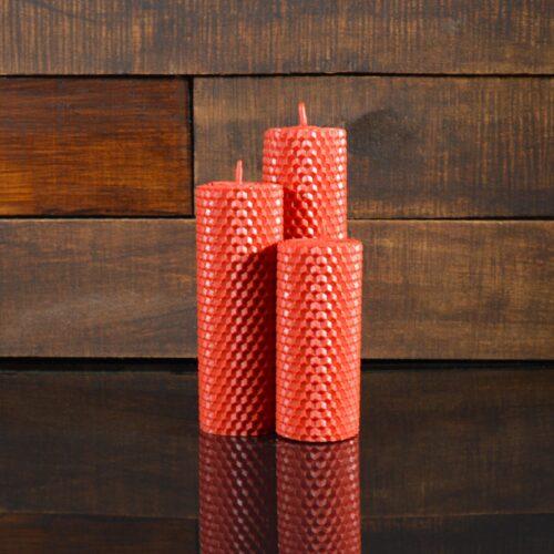 Красные свечи из пчелиного воска (комплект из 3-х свечей)