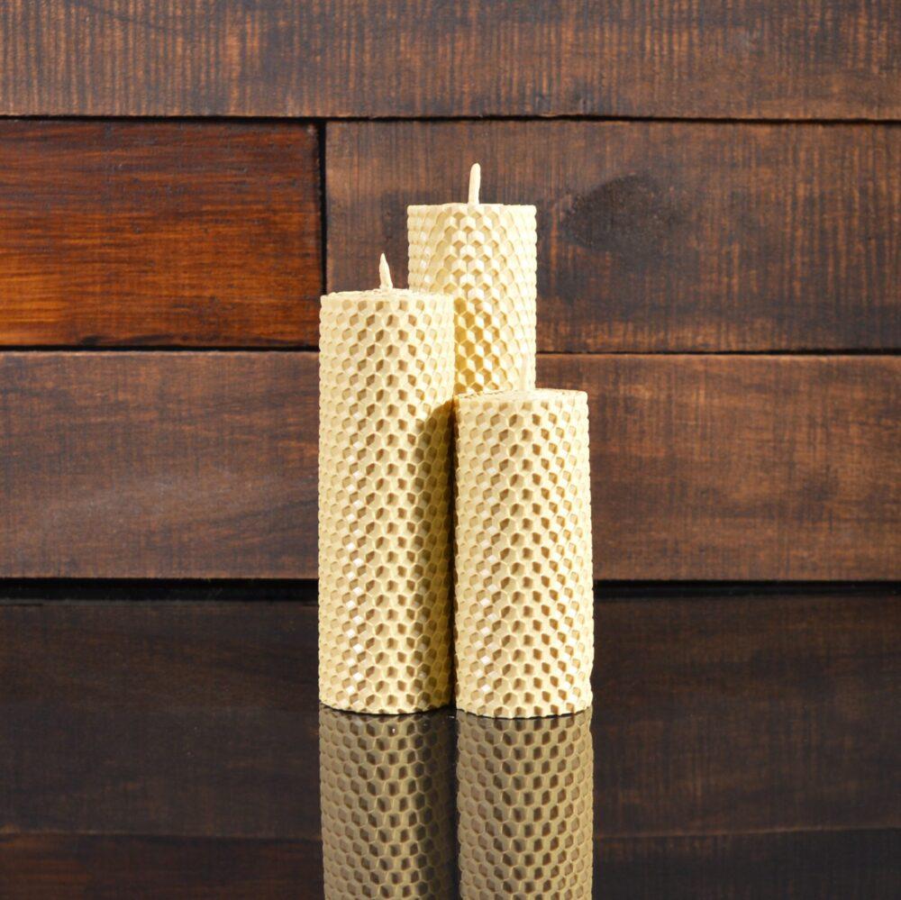 Кремовые свечи из пчелиного воска (комплект из 3-х свечей)