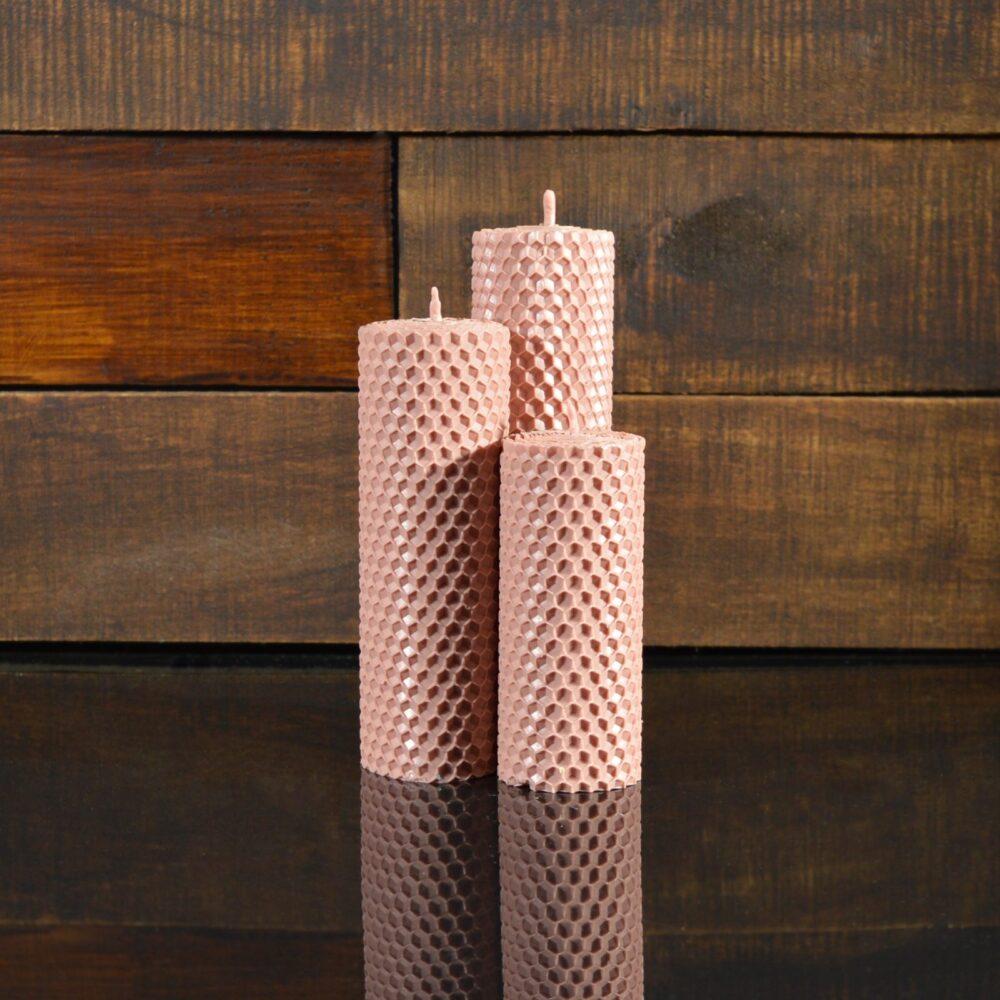 Пудровые свечи из пчелиного воска (комплект из 3-х свечей)