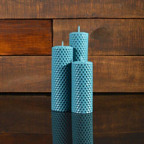 Синие свечи из пчелиного воска (комплект из 3-х свечей)