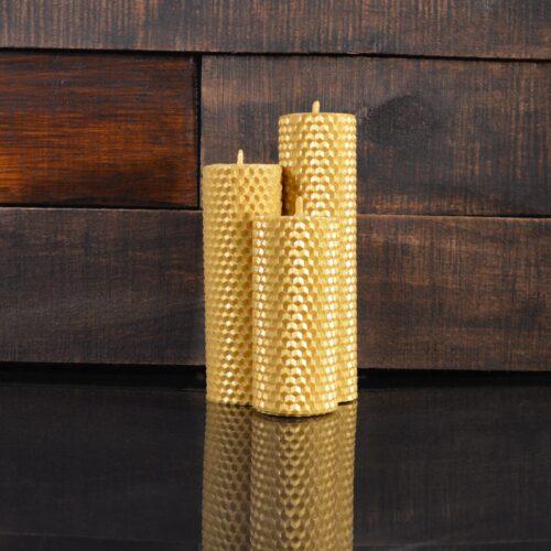 Золотые свечи из пчелиного воска (комплект из 3-х свечей)