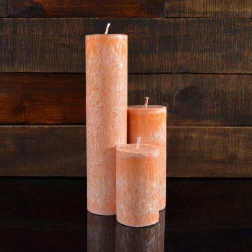 Оранжевые свечи из пальмового воска (комплект из 3-х свечей)