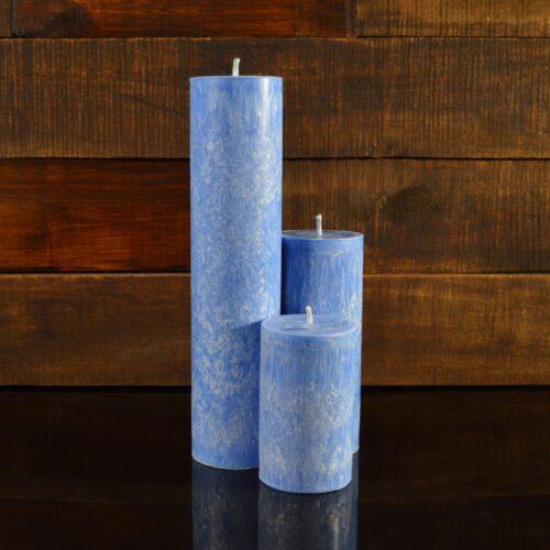 Синие свечи из пальмового воска (комплект из 3-х свечей)