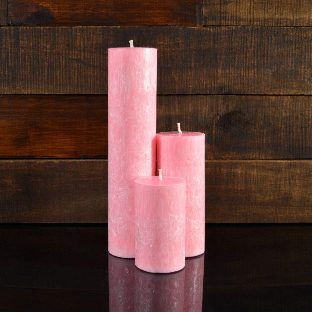 Розовые свечи из пальмового воска (комплект из 3-х свечей)
