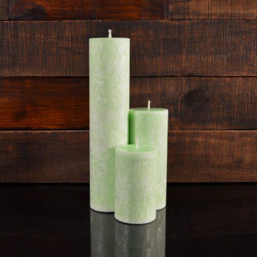 Салатовые свечи из пальмового воска (комплект из 3-х свечей)
