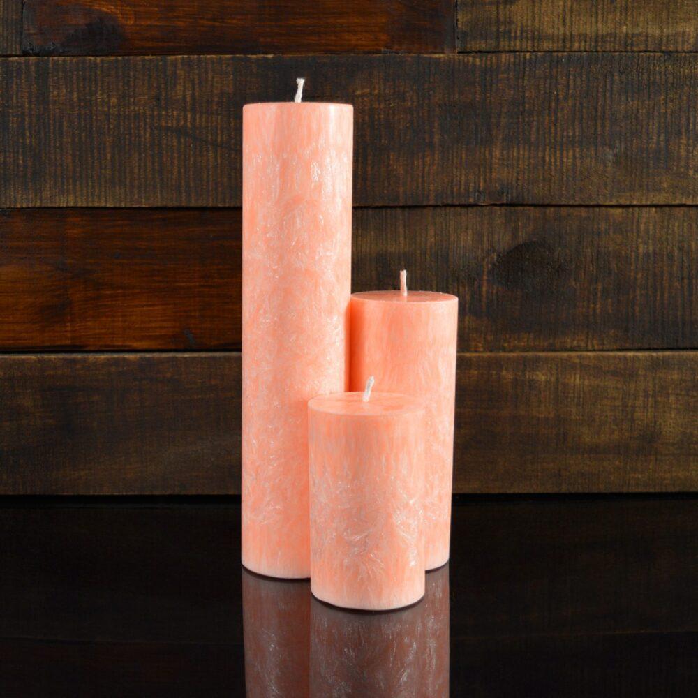 Персиковые свечи из пальмового воска (комплект из 3-х свечей)