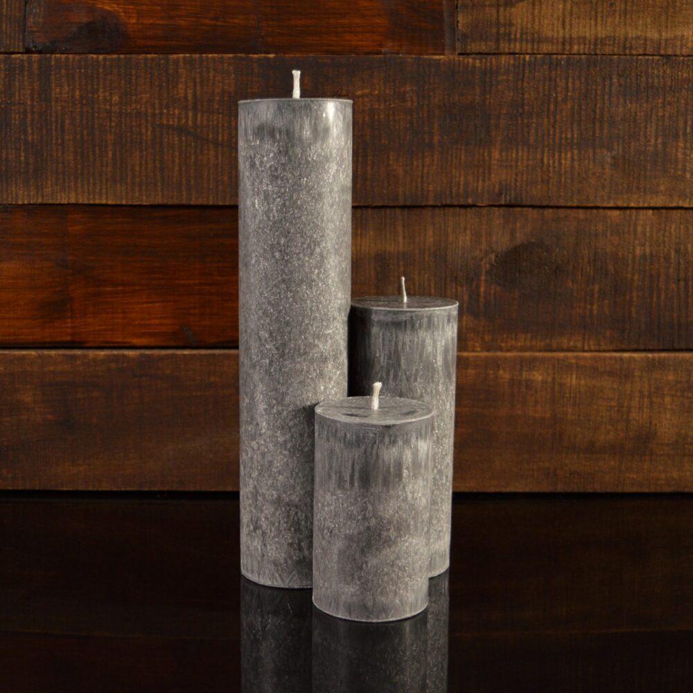 Серые свечи из пальмового воска (комплект из 3-х свечей)