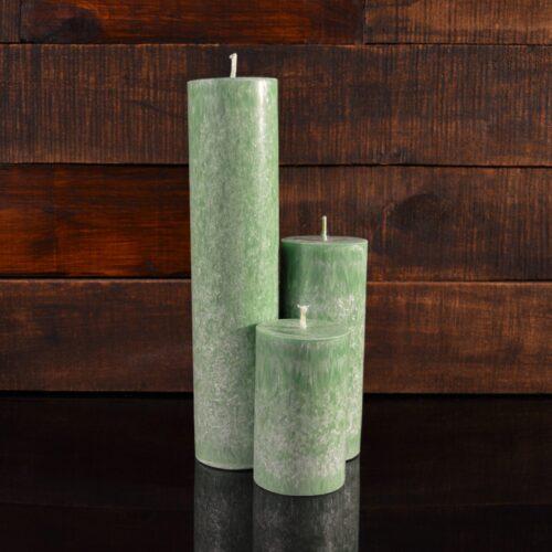 Зеленые свечи из пальмового воска (комплект из 3-х свечей)